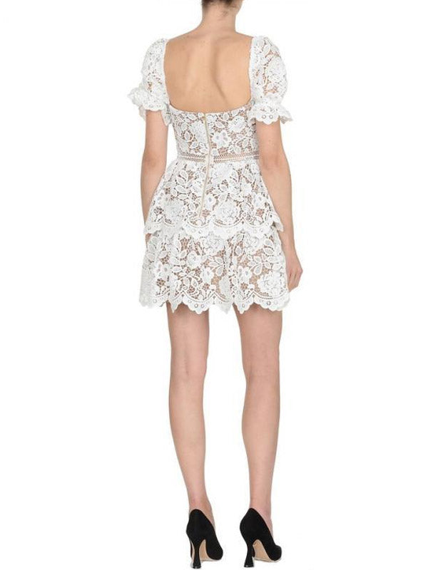 Puff Sleeve Floral Lace High Waist Sexy Backless cocktail dress