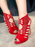 Fish mouth hollow stiletto sexy women's shoes sandals women