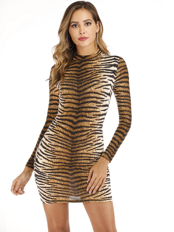 Sexy Leopard and tiger print  round-Neck Long-Sleeved Dress