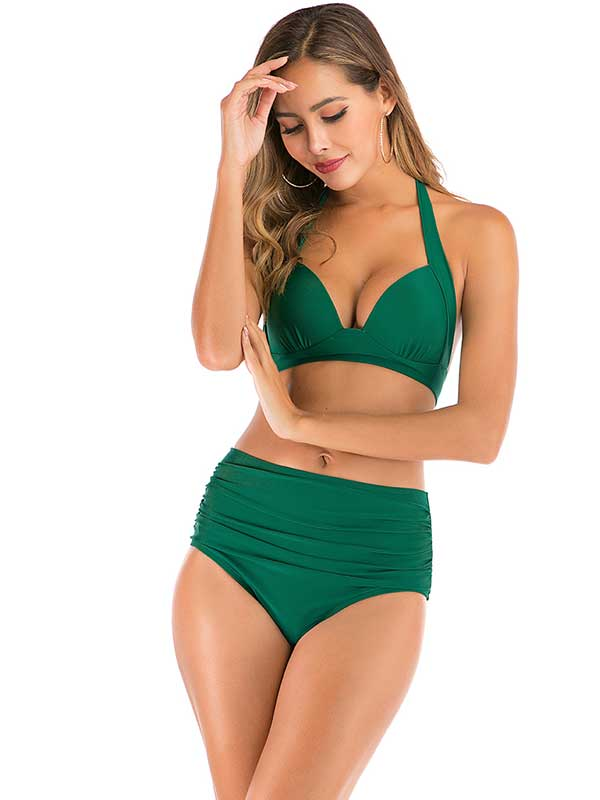 high waist 2 pieces bikini swimwear-green
