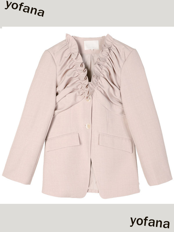 DT Edition Ruffled Pleated Blazer