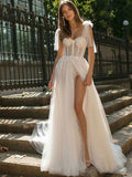 Sexy Split Shiny maxi  Dress Wedding Dress