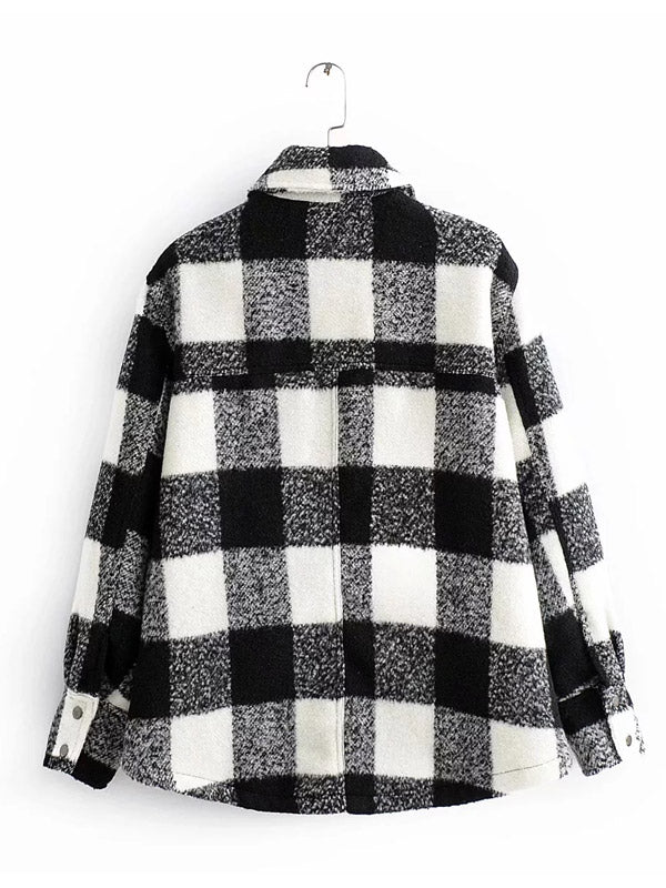 Women Buffalo Plaid Jacket Black and White Winter  Tweed Thick Check Coat Woman Oversize Plaid Sweater Coat