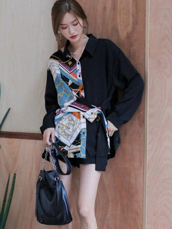 Lapel Single-Breasted Printed Shirt Black Loose Shirt
