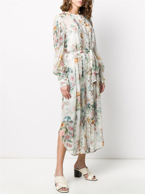 Elegant Printed Tassled Lace-up Loose-Fit Long-Sleeved Holiday Dress