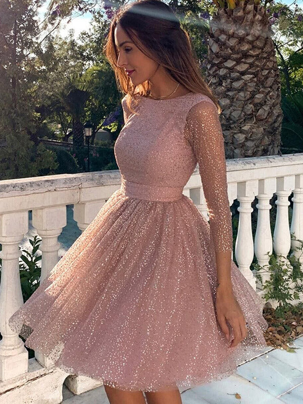 Shiny Pink cute Homecoming Dresses Long Sleeves  Open Back Short Prom midi  Dresses