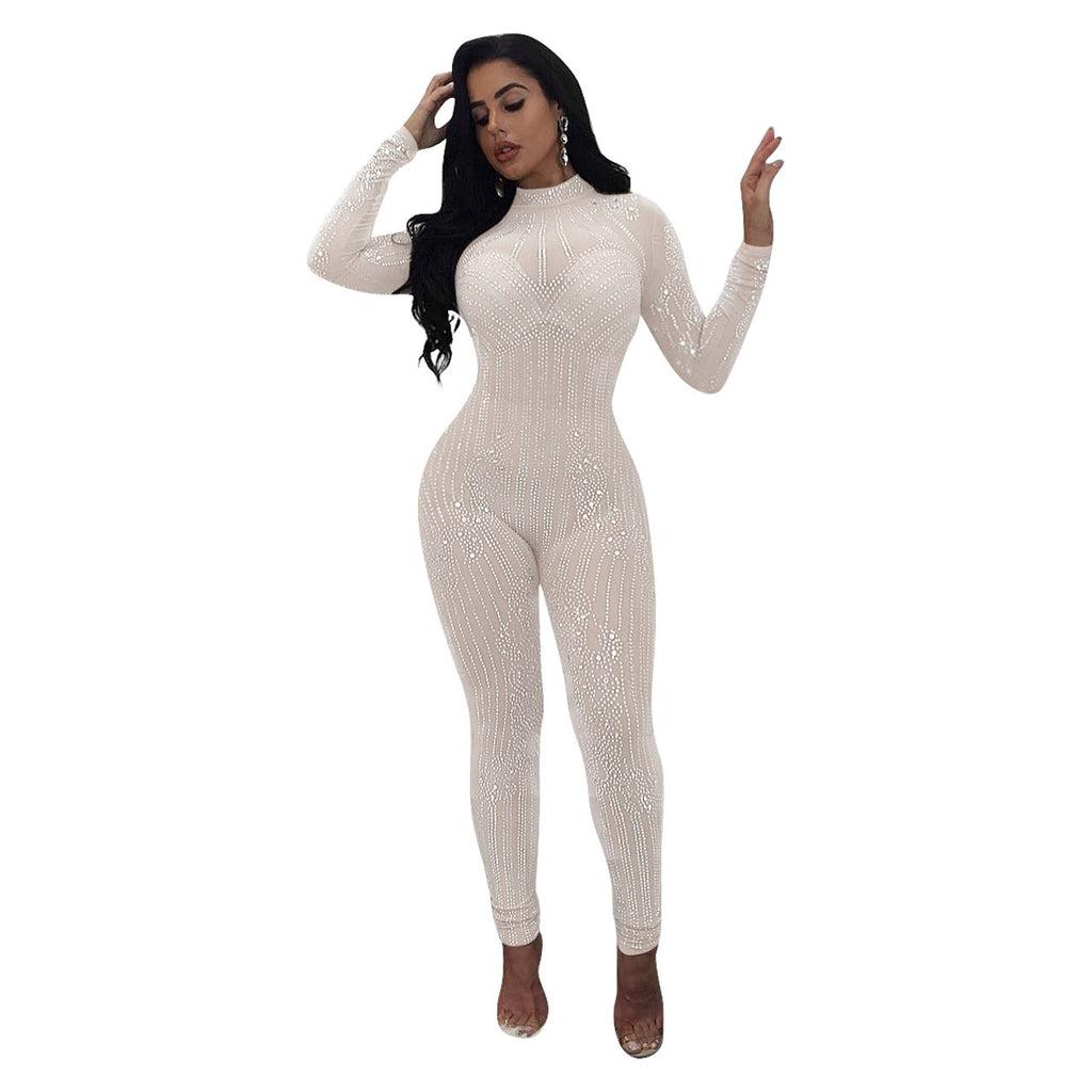 Diamond-Mesh See-through Rhinestone Sheer Jumpsuit