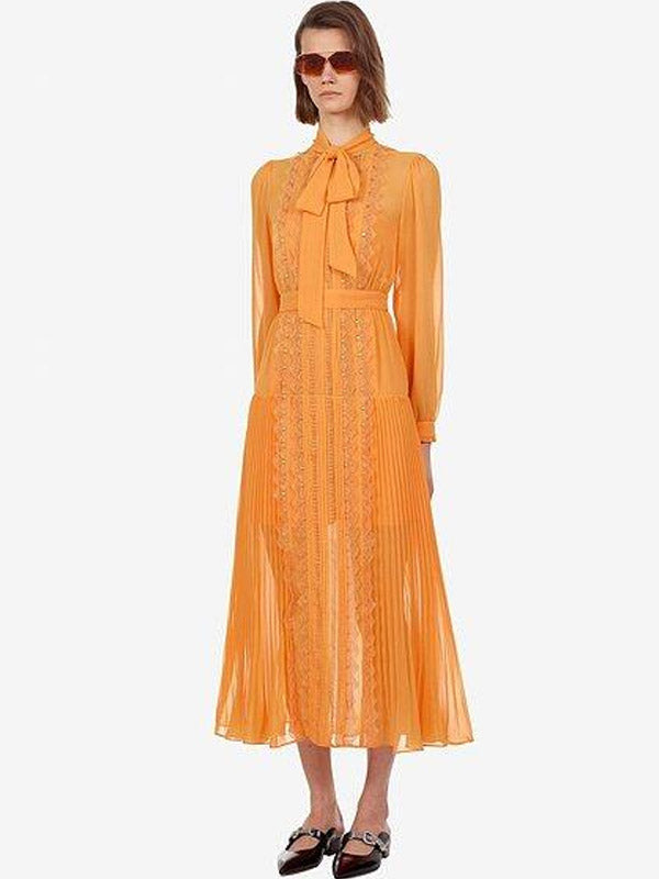 Holiday Bow Pleated Lace  Orange Chiffon Trimmed Midi Dress