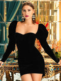Sexy Square Collar Puff Sleeve Party Nightclub Velvet Tube Dress