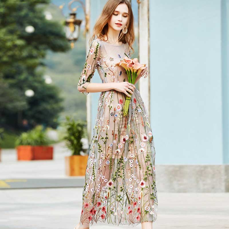 Ladies Fashion Summer embroidered mesh Long dress