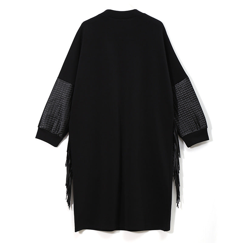 Loose-Fitting Tassel Long-Sleeve Dress