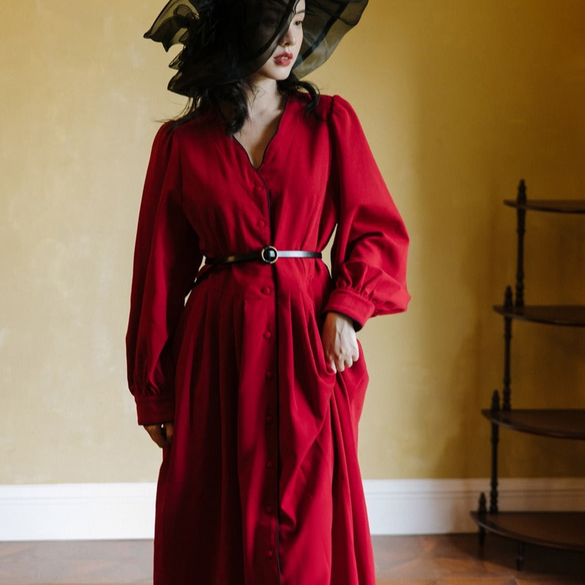 Retro Hepburn Style Red cottagecore aesthetic dress