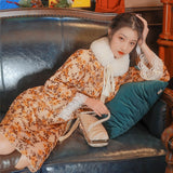Gold Velvet Vintage Long Sleeve Loose Court Dress cottagecore aesthetic dress Cheongsam