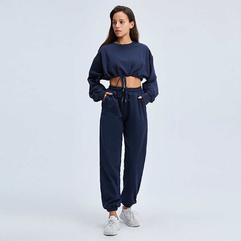Women Athletic Wear-Long Sleeve Crop Top & Pant Sexy Gym Clothes Yoga Outfits Feminine Sportswear 2 Piece Set
