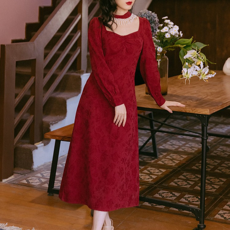 Court Vintage Burgundy Square Collar cottagecore aesthetic dress