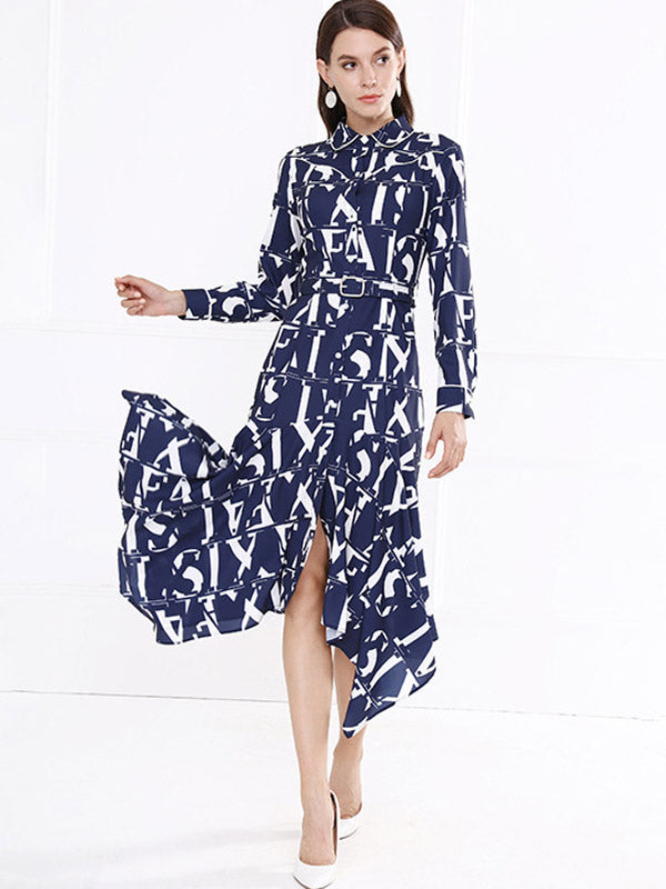 Letter Print Shirt Collar Irregular Dress