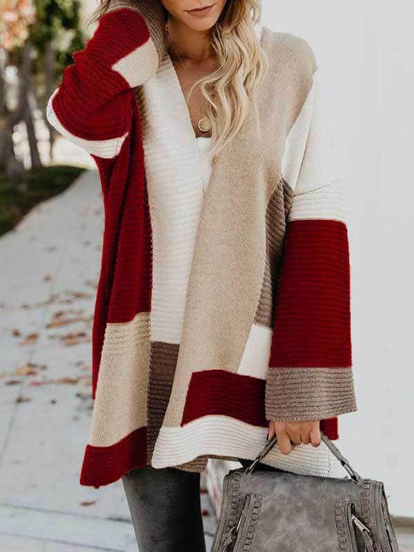Autumn cardigan for women with color block