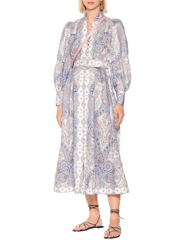 Vintage Printed Single-Breasted Stand Collar  Linen Long Dress