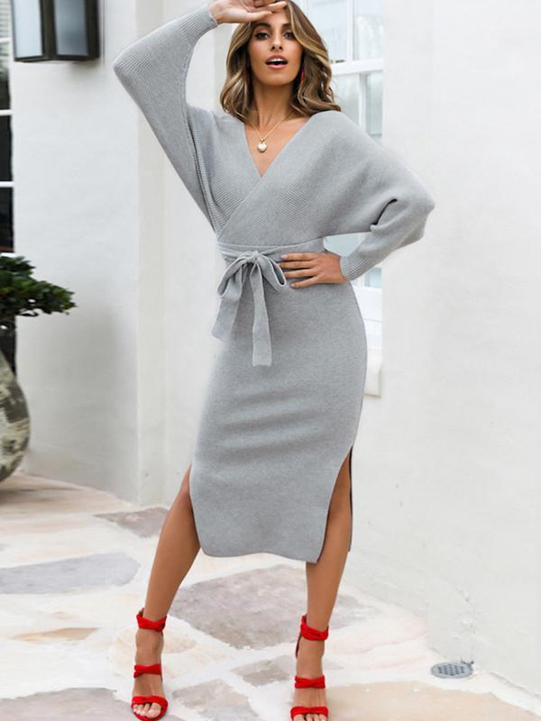 Batwing Sleeve solid color knited sweater dress