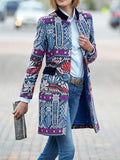 Flower Printed Long-Sleeved Overcoat Women's Long Coat Vintage Ethnic Blazer Slim Fit Stand Collar Coat Casual Jacket Long Sleeve Autumn Winter Jackets