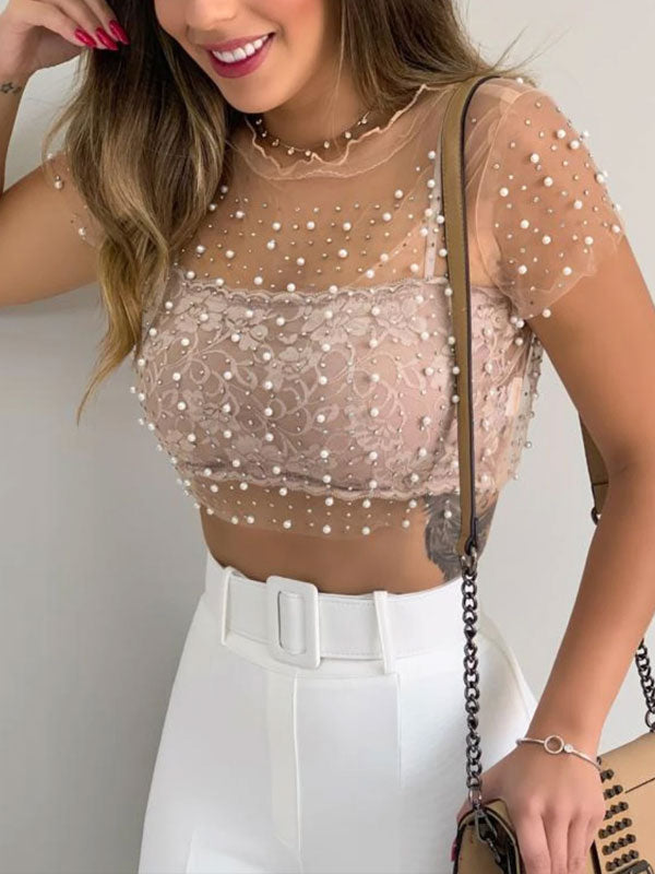 See-through lace shirt & crop tank top