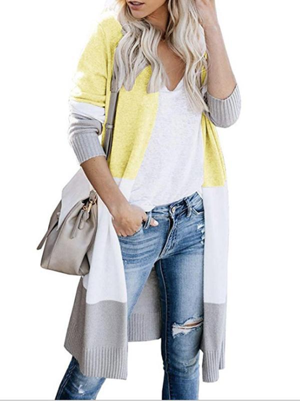 cardigan for women with block striped color