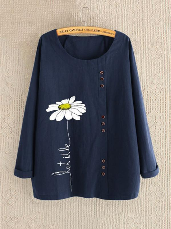 Casual Floral Print Daisy Button Long Sleeve Shirt