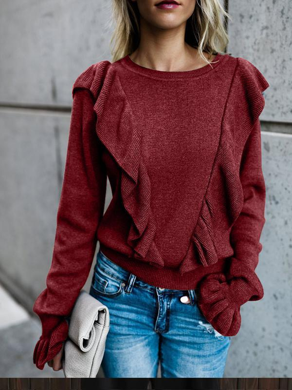 Casual Long Sleeve Acrylic Ruffled Solid Sweatshirt