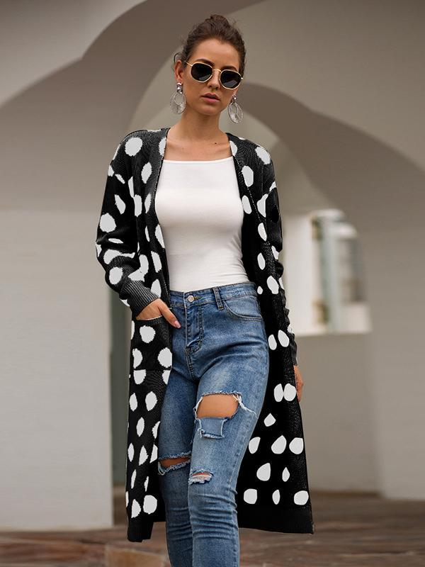Casual Long Sleeve Polka Dot Cardigan Sweater For Women