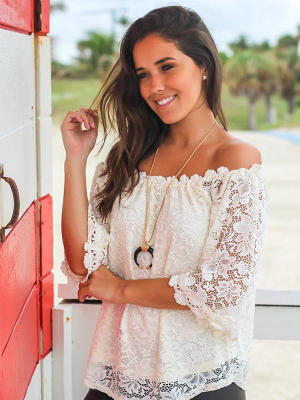 Casual Off The Shoulder White Lace Blouse