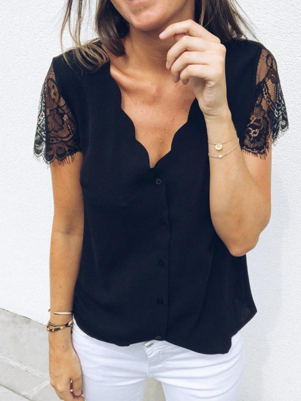 Casual V Neck Buttons Blouse