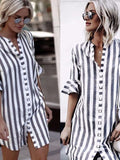 Casual Women Loose Fashion Striped Short-sleeved Shirt