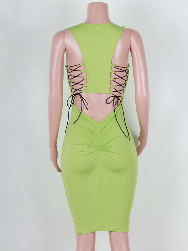 women sexy backless bodycon dress buttock lift dress