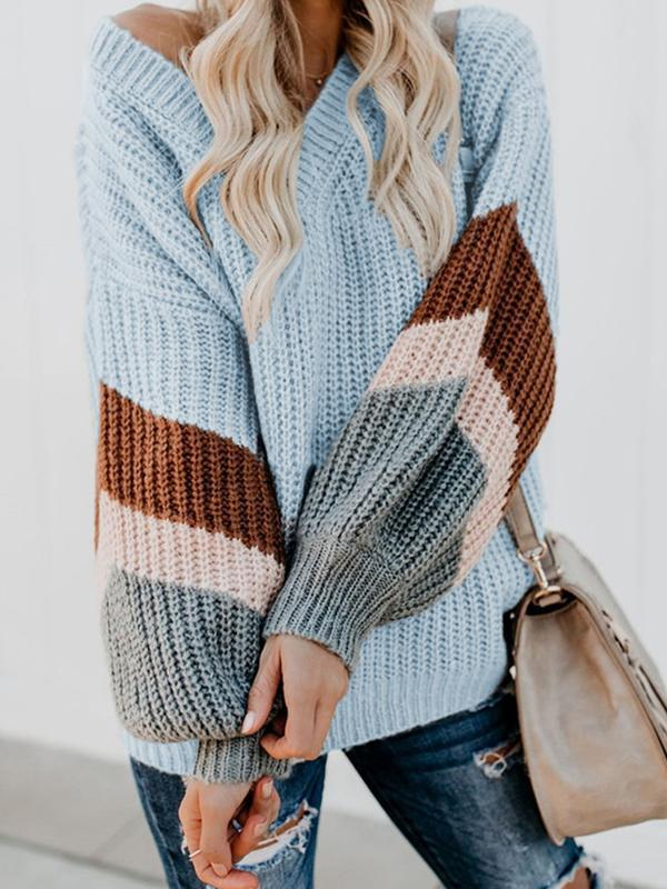 color block knit sweater with v neck