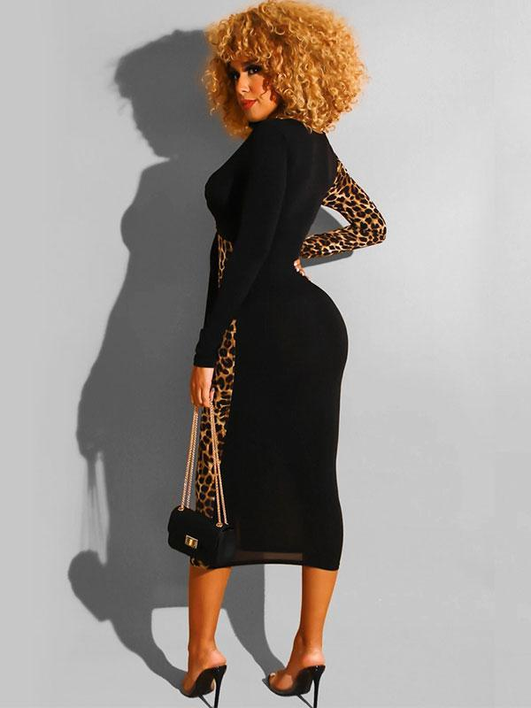 Contrasting Leopard Print Deep V-neck Skinny Sexy Nightclub Dress