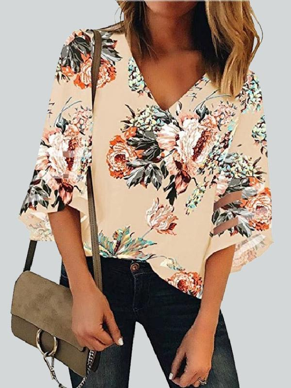 Daily Floral Printed Hollow-out Blouse