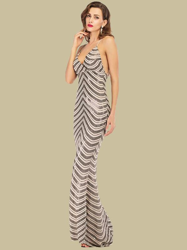 Deep V neck backless stretchy sequined maxi dress