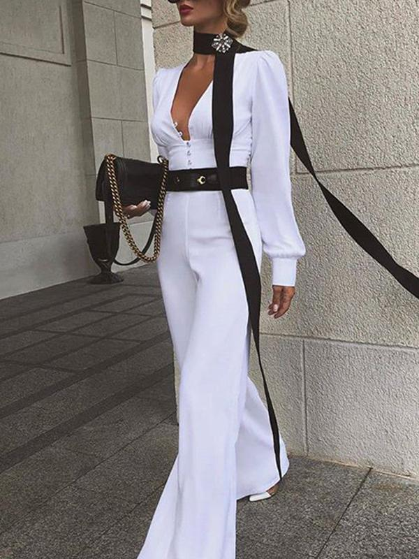 Deep v neck long sleeve solid high waist jumpsuit