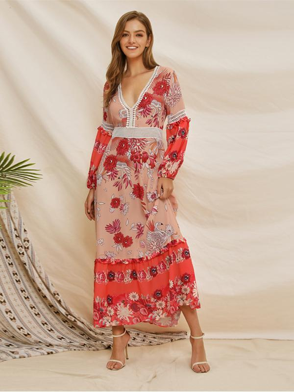 Deep V-neck Print Long Sleeve Bohemian Maxi Dress For Women