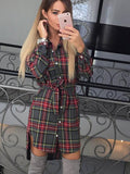 deep v neck sexy plaid shirt dress
