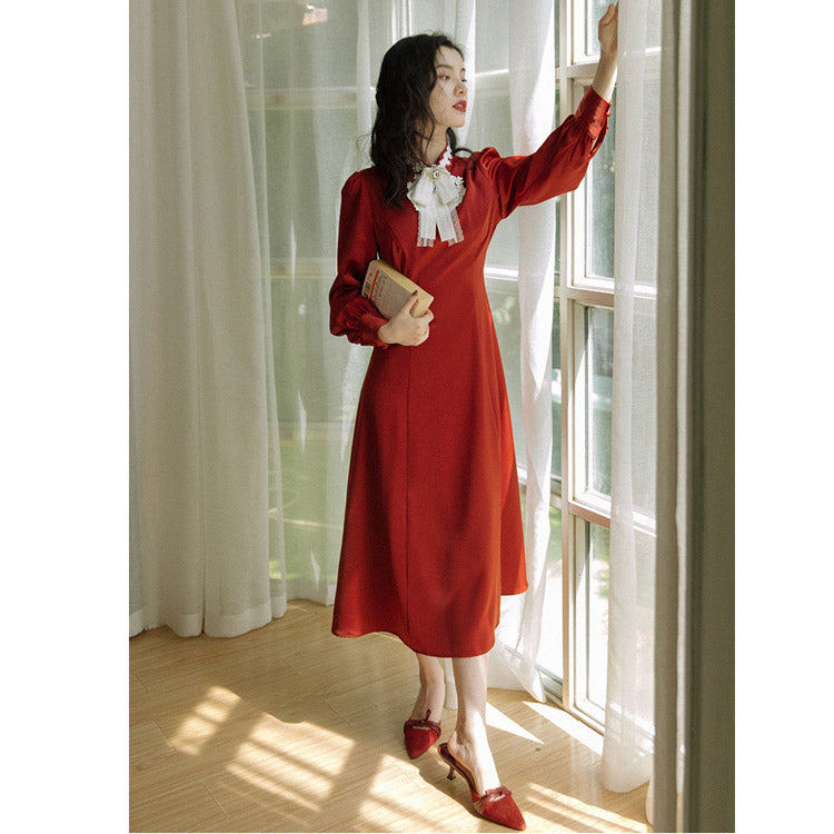 Retro Red cottagecore aesthetic dress