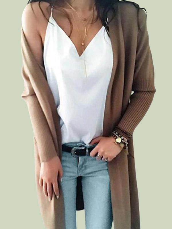 Essential Solid Open Front Long Knited Cardigan Sweater for Women