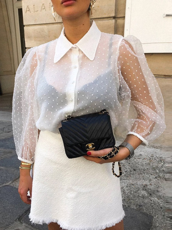 sexy puff sleeve shirt see through tops for women