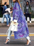 Women's Fashion Geometric Print Woolen Coat  Long Colorful Winter Coat