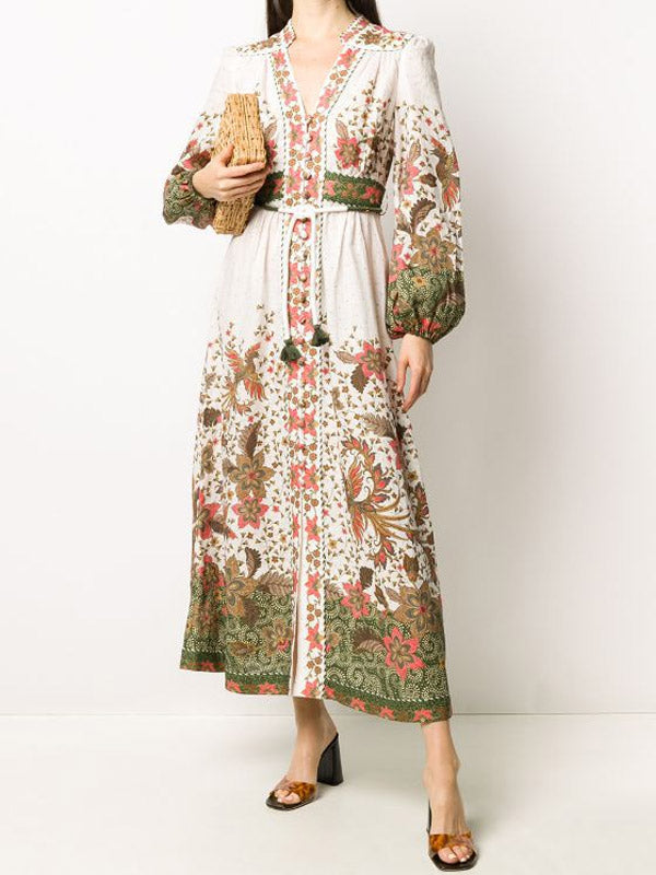 National Style flower Printed Single-Breasted Bohemian Holiday Dress with Stand Collar