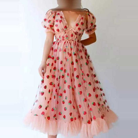 Pink  Strawberry Dress Cottagecore Midi Dress Prom Dress Aesthetic Fairycore Dress