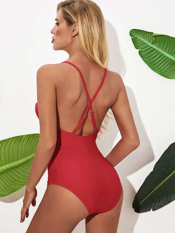 solid color red one-piece bikini sexy push up ladies swimsuit