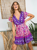 Fashion Beach Holiday Style Short Sleeve Deep V Big Pleated Print Short Dress