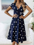 Fashion Casual V-Neck Printed Wavy Tie Dress For Women