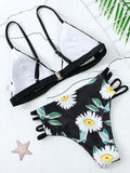 Fashion ladies Flesh Sexy Floral Print Bikini